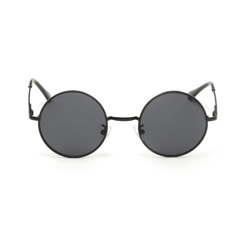 Siyah Camlı Retro Yuvarlak Gözlük Siyah