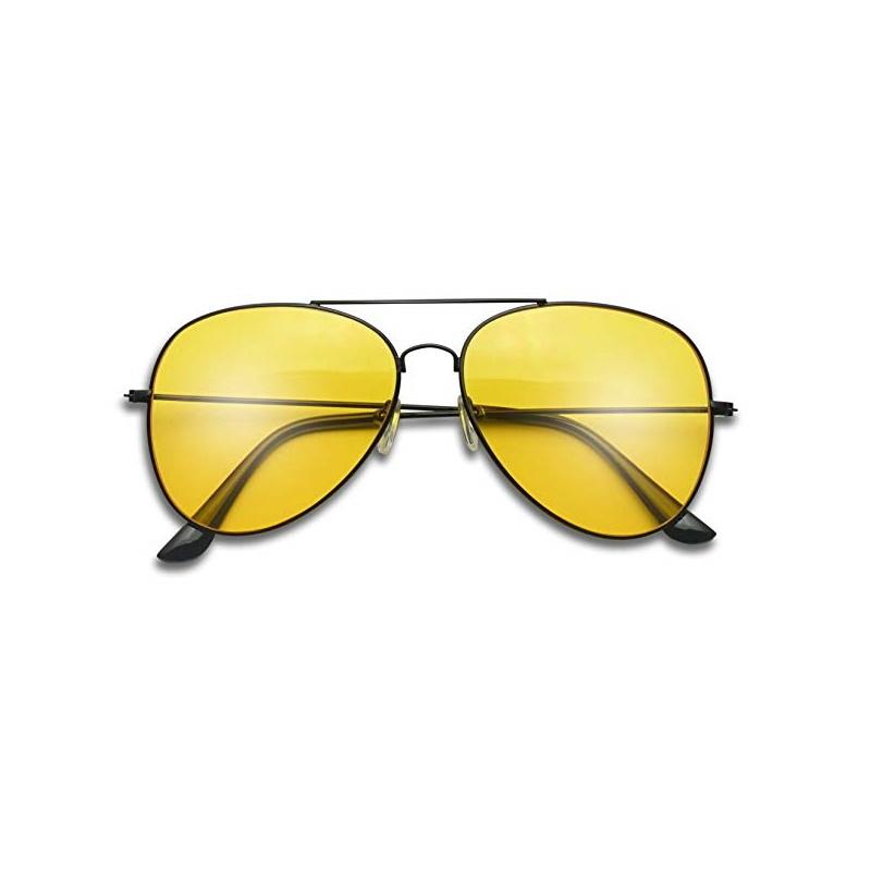 Siyah Çerçeveli Damla Unisex Güneş Gözlüğü Sarı