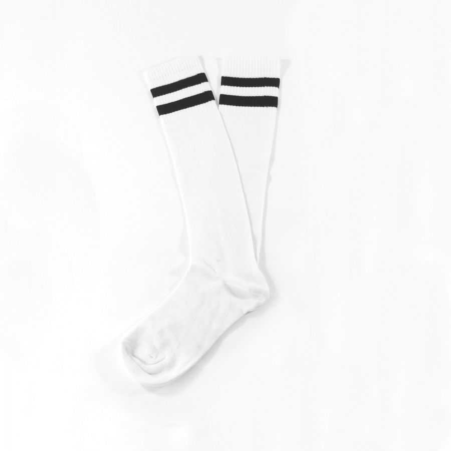 Siyah Çizgili Diz Altı Koton Spor Çorap Beyaz