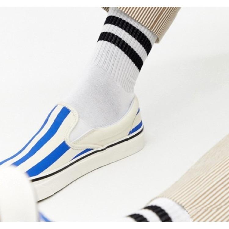 Siyah Çizgili Kısa Konç Erkek Spor Çorap Beyaz (43-46 Numara)