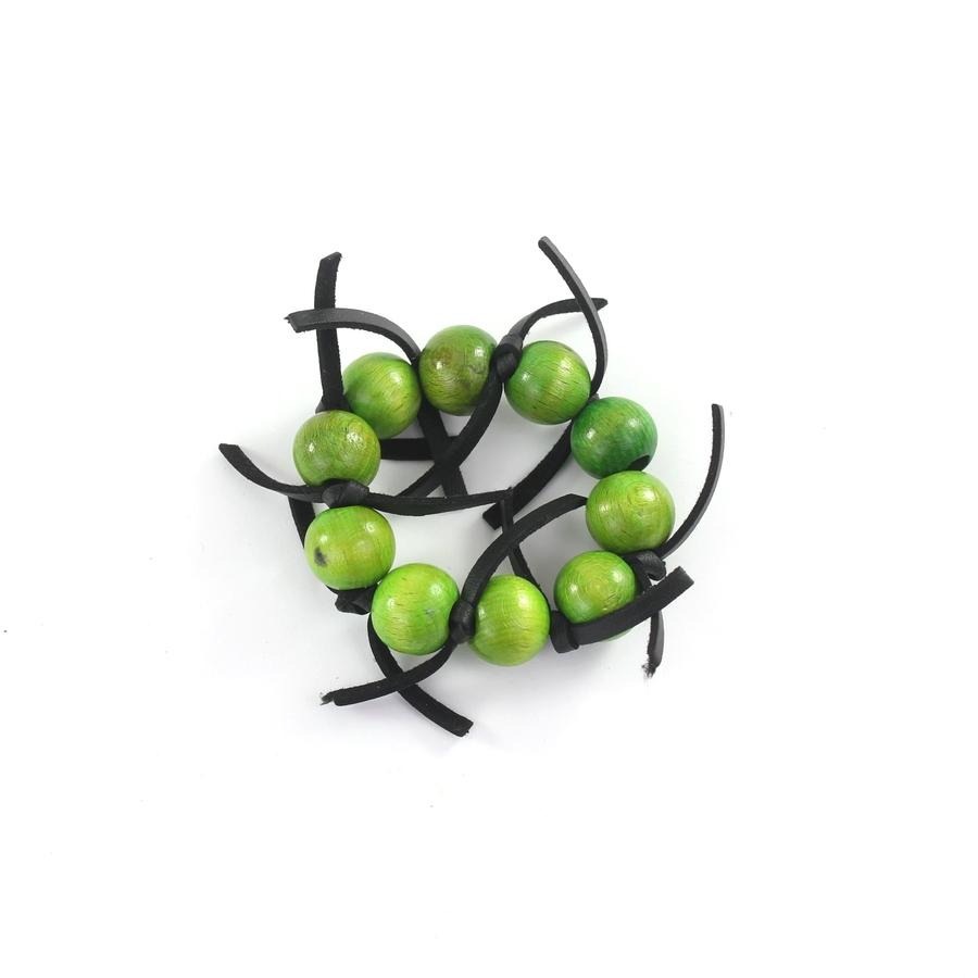 Siyah Deri Bağcıklı Tahta Buncuklu Bileklik Yeşil