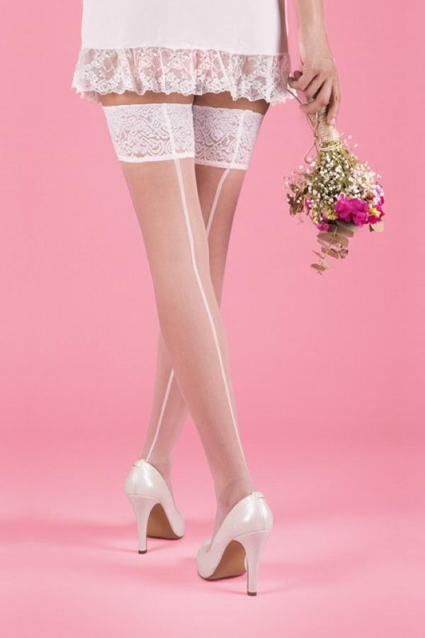 Slikon Dantelli Arkası Çizgili Diz Üstü Jartiyer Çorap 20 Denye Beyaz