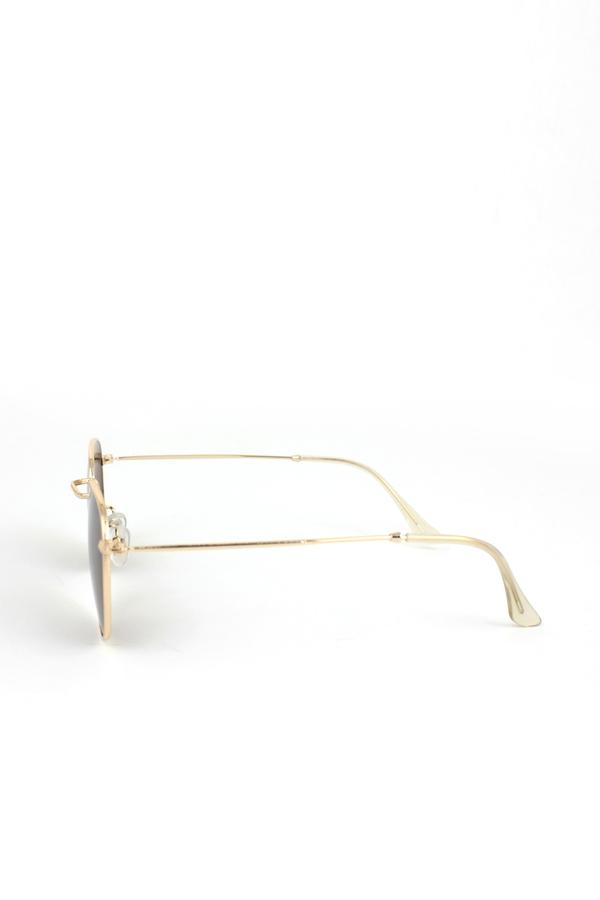 So Moody Gold Metal Çerçeveli Küçük Yuvarlak Unisex Güneş Gözlüğü Kahverengi