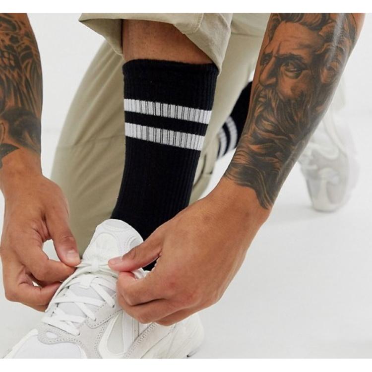 Sporty Beyaz Çizgili Kısa Erkek Spor Çorap Siyah (43-46 Numara)