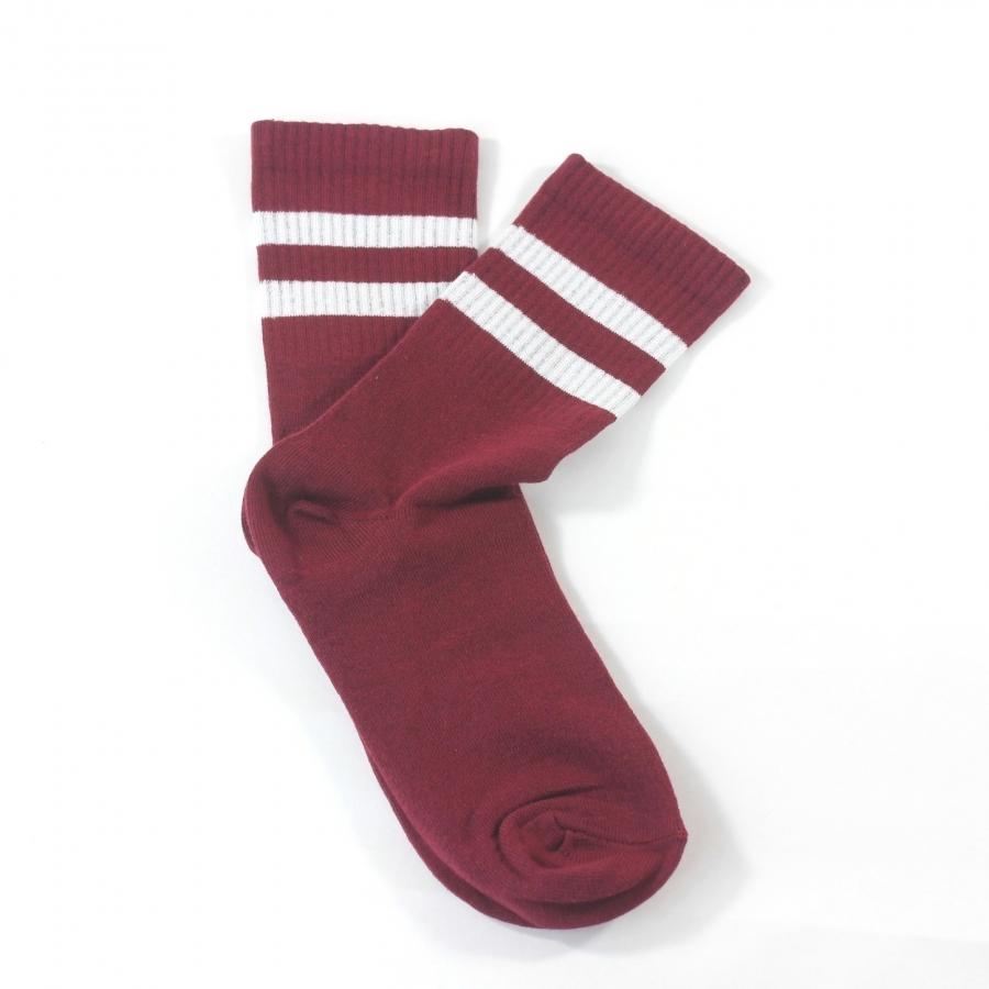Sporty Beyaz Çizgili Kısa Koton Spor Çorap Bordo