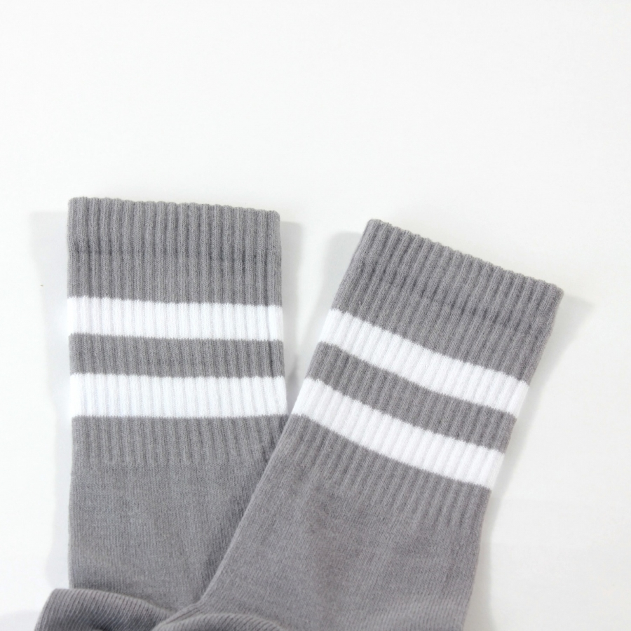 Sporty Beyaz Çizgili Kısa Koton Spor Çorap Gri