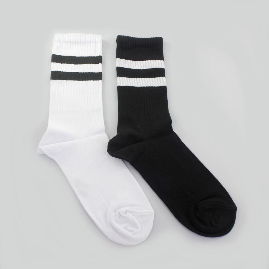 Sporty Çizgili Kısa Erkek Spor Çorap Siyah Beyaz 2li (39-42 Numara)