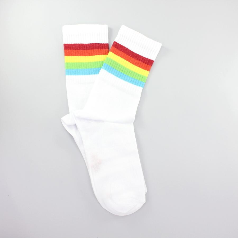 Sporty Renkli Çizgili Kısa Koton Spor Çorap Beyaz