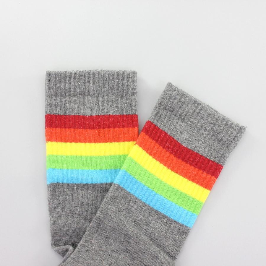 Sporty Renkli Çizgili Kısa Koton Spor Çorap Gri