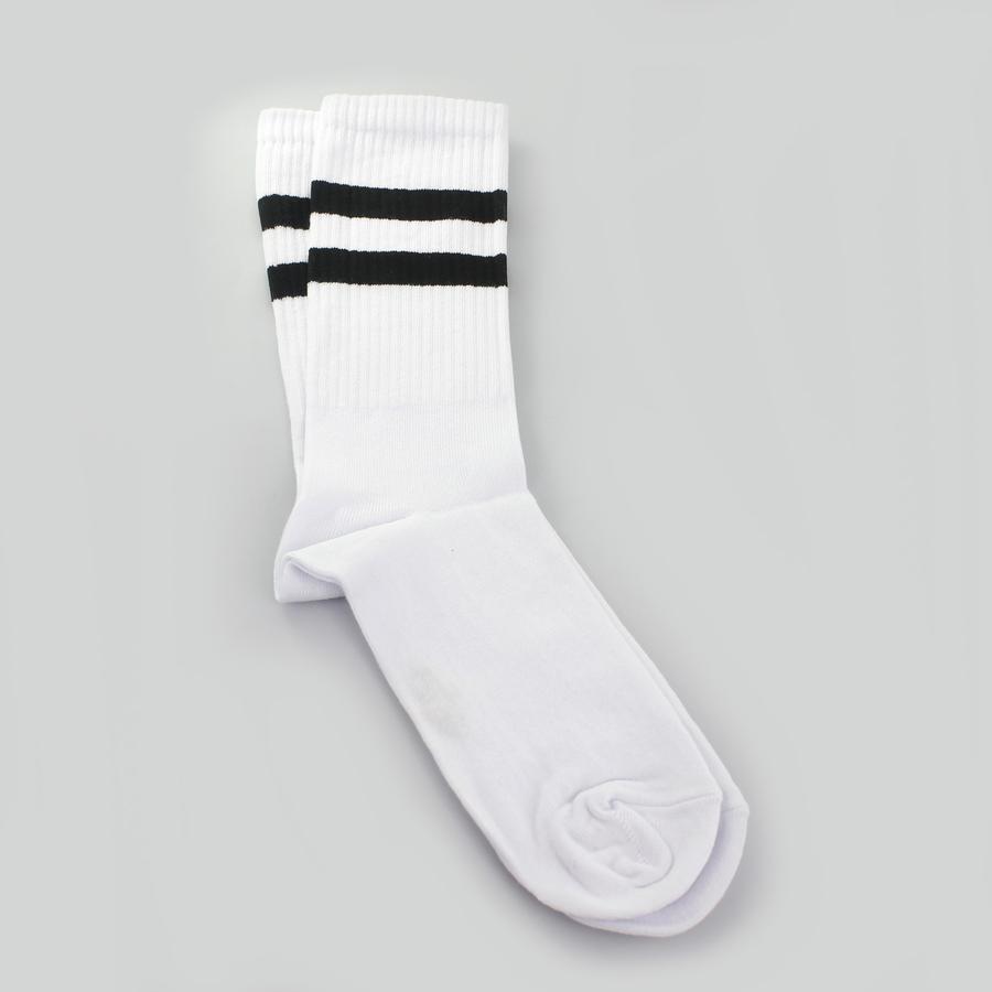 Sporty Siyah Çizgili Kısa Erkek Spor Çorap Beyaz (43-46 Numara)