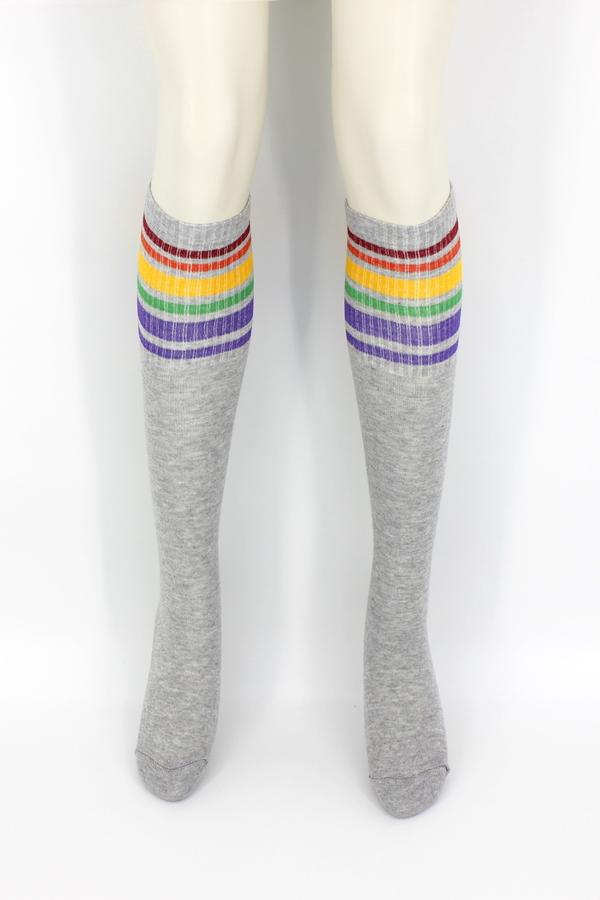 Spring Renkli Çizgili Diz Altı Koton Spor Çorap Gri