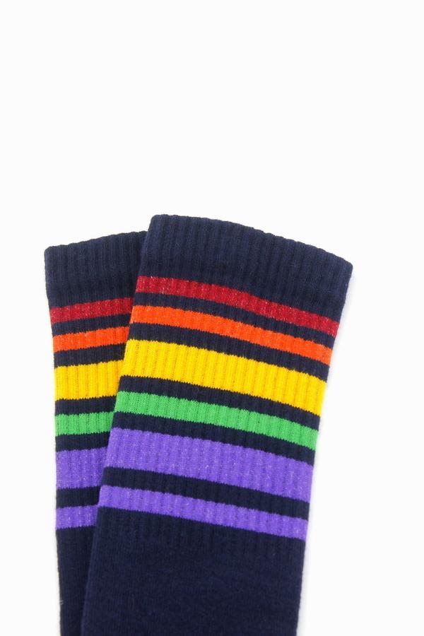 Spring Renkli Çizgili Diz Altı Koton Spor Çorap Lacivert