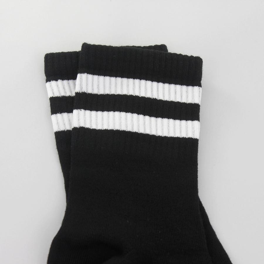 Street Beyaz Çizgili Erkek Spor Çorap Siyah (43-46 Numara)
