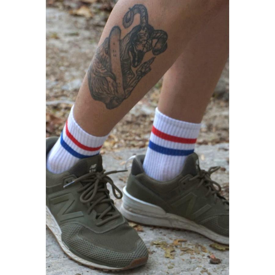 Street Mavi Kırmızı Çizgili Erkek Spor Çorap Beyaz (43-46 Numara)