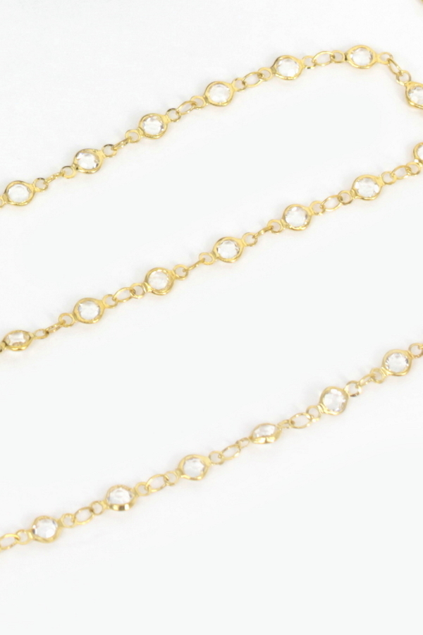 Sweet Kristal Taşlı İnce Gözlük Zinciri Gold