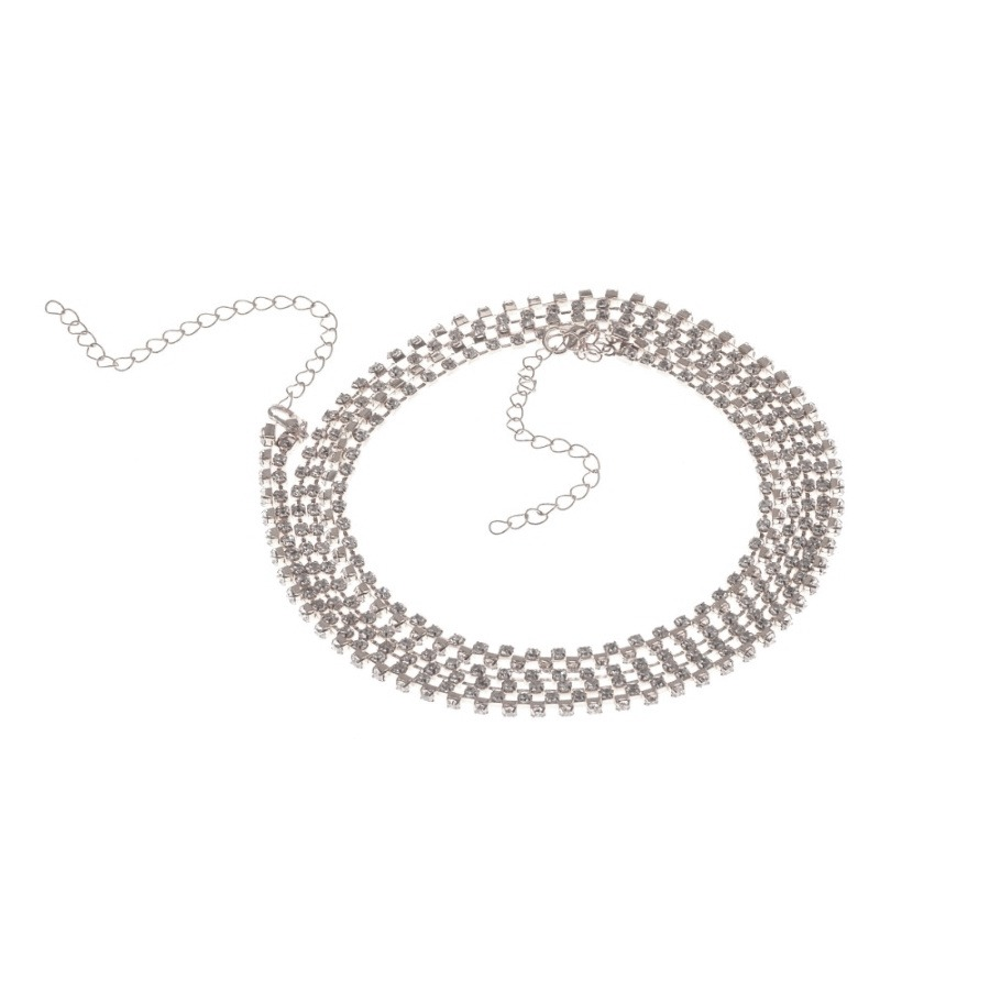 Taşlı Zincir Çapraz Göğüs Vücut Takısı Silver