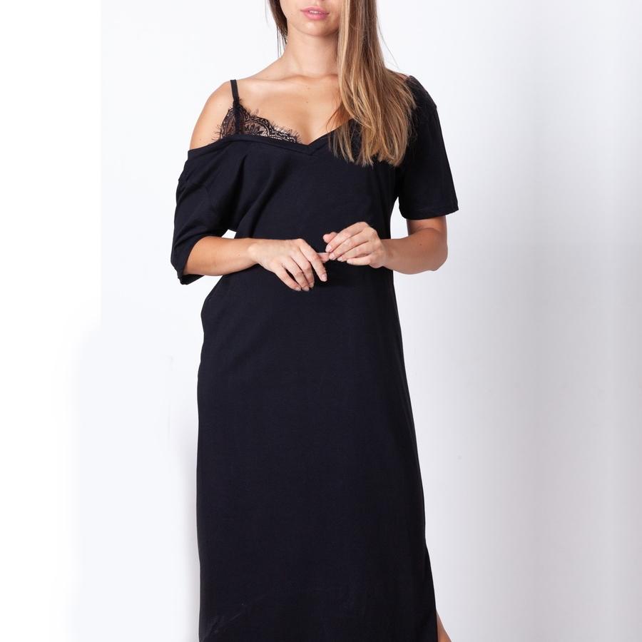 Tek Omuz Dantel Askılı Penye Elbise Siyah