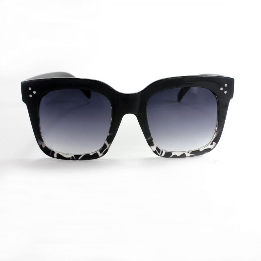 Tilda Kalın Kare Çerçeveli Degrade Camlı Güneş Gözlüğü Siyah Leopar