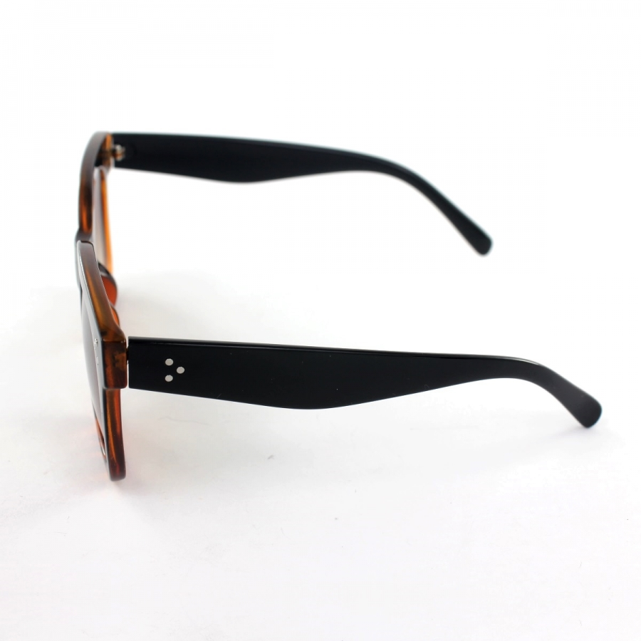 Tilda Kalın Kare Çerçeveli Güneş Gözlüğü Siyah Leopar