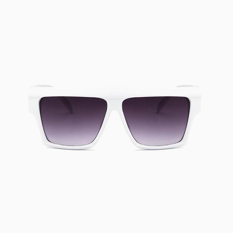 Top-Flat Kare Kalın Çerçeveli Büyük Güneş Gözlüğü Beyaz