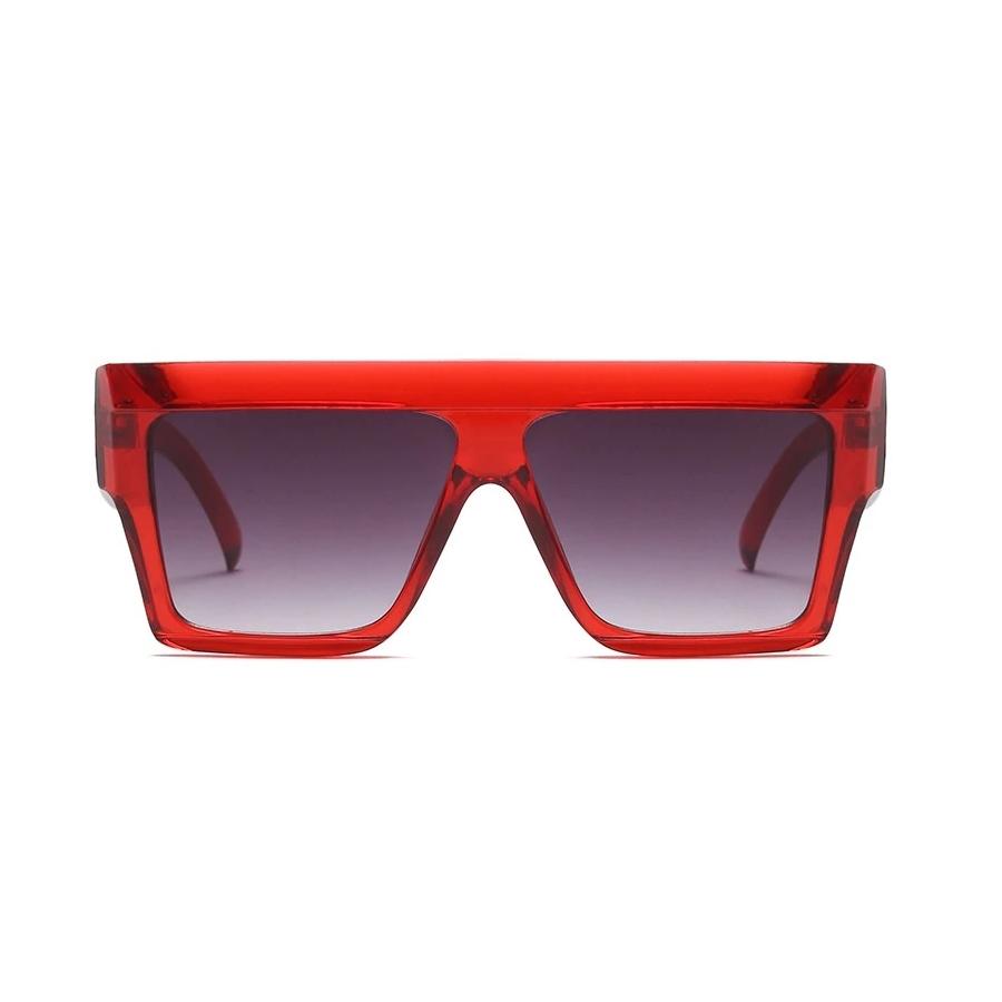 Top-Flat Kare Kalın Çerçeveli Büyük Güneş Gözlüğü Kırmızı