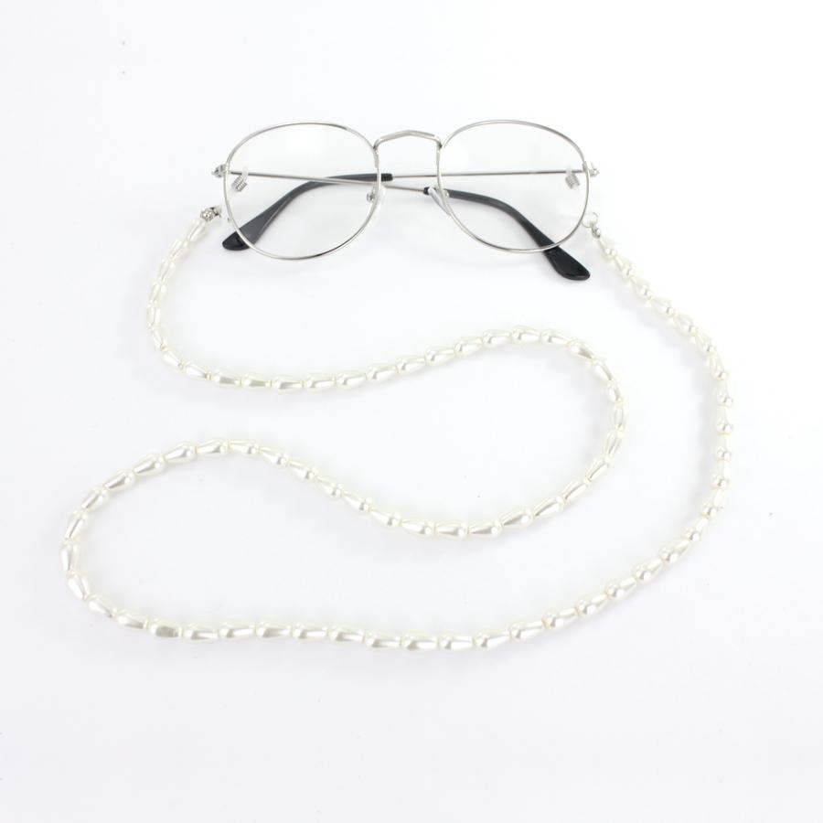 Uzun İncili Gözlük Zinciri Beyaz