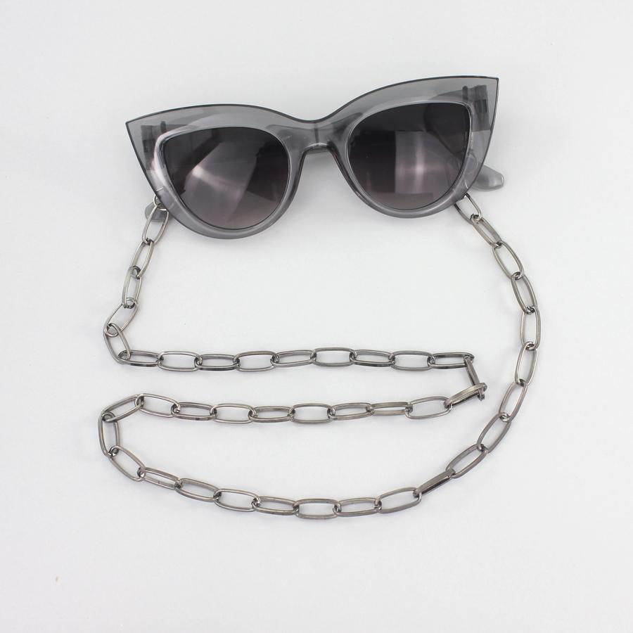 Uzun Oval Zinciri Gözlük Zinciri Koyu Gri