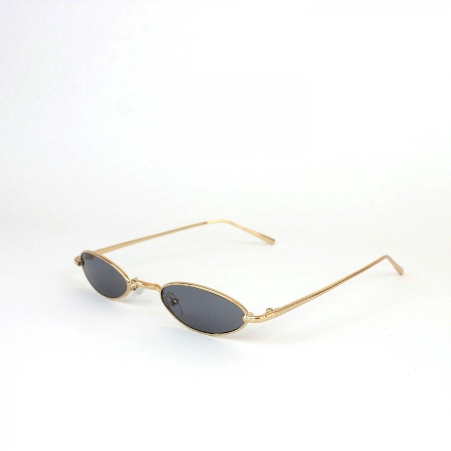 Vector Gold Metal Çerçeveli Gri Camlı Küçük Oval Unisex Güneş Gözlüğü
