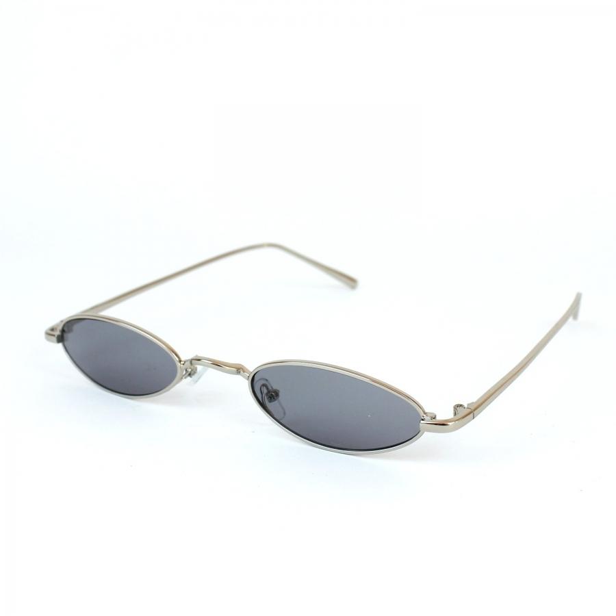 Vector Silver Metal Çerçeveli Gri Camlı Küçük Oval Unisex Güneş Gözlüğü