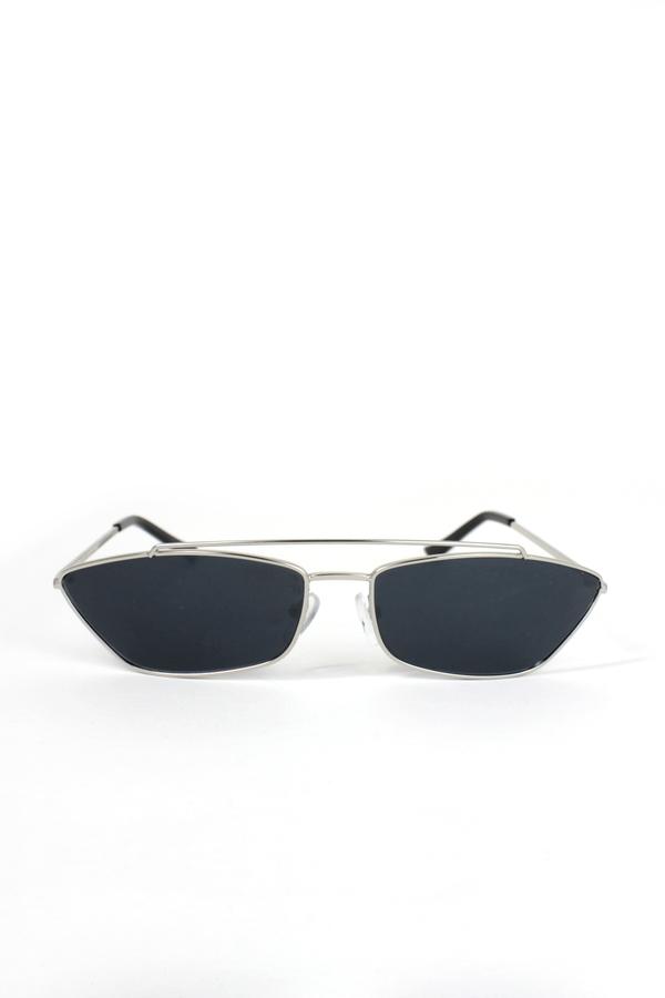 Vroom Silver Metal Çerçeveli Köprülü Küçük Güneş Gözlüğü Siyah