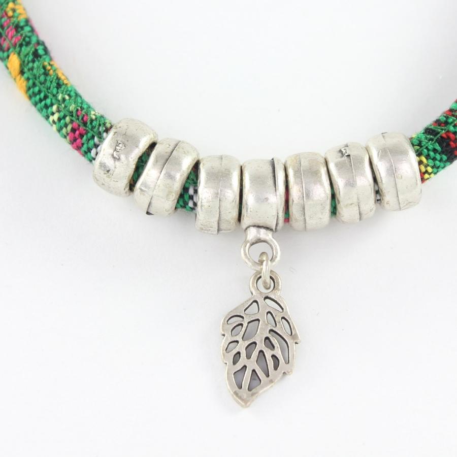 Yapraklı Kumaş Boho Halhal Silver
