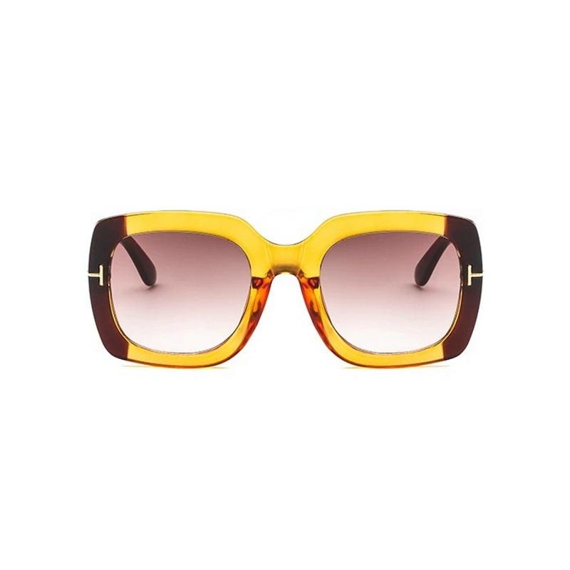 Yasmin Büyük Kare Tasarım Güneş Gözlüğü Turuncu Kahverengi