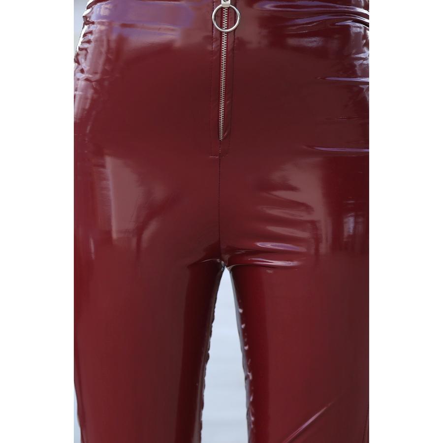 Zoom Fermuarlı Rugan Deri Parlak Tayt Kırmızı