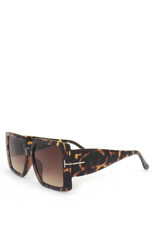 Audrey Kahverengi Degrade Camlı Büyük Kare Bayan Güneş Gözlüğü Leopar