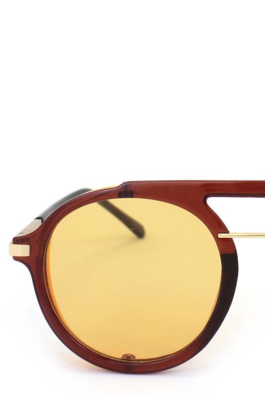 Ava Retro Steampunk Sarı Camlı Yuvarlak Unisex Güneş Gözlüğü Pembe Sarı Kahverengi