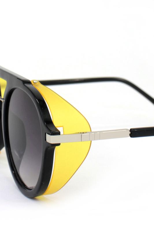 Ava Retro Steampunk Siyah Camlı Yuvarlak Unisex Güneş Gözlüğü Sarı Siyah