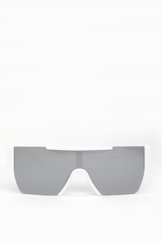 Backstage Büyük Dikdörtgen Unisex Güneş Gözlüğü Beyaz Aynalı Gri