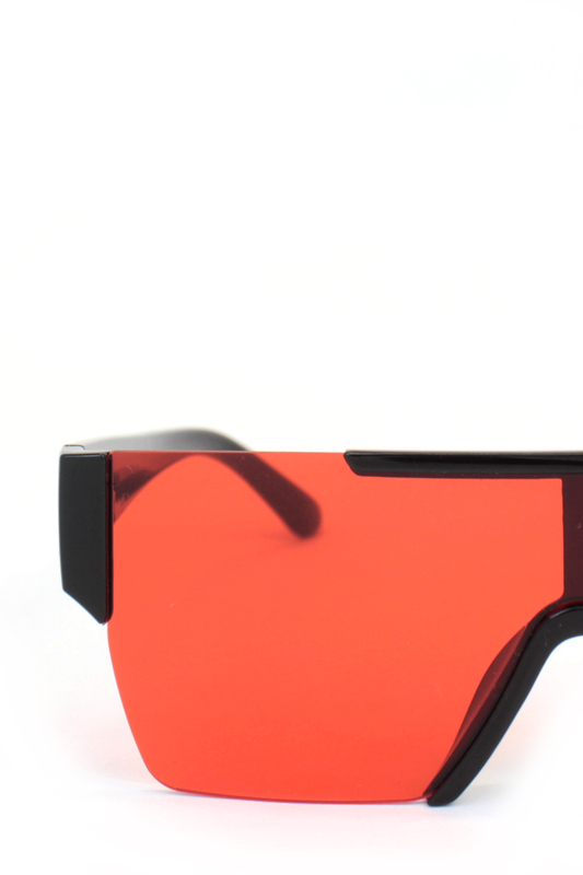 Backstage Büyük Dikdörtgen Unisex Güneş Gözlüğü Siyah Kırmızı