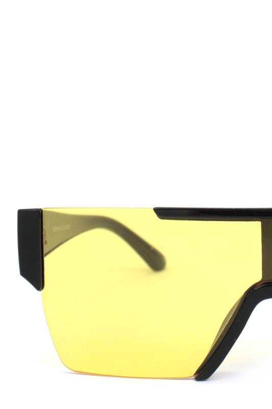 Backstage Büyük Dikdörtgen Unisex Güneş Gözlüğü Siyah Sarı