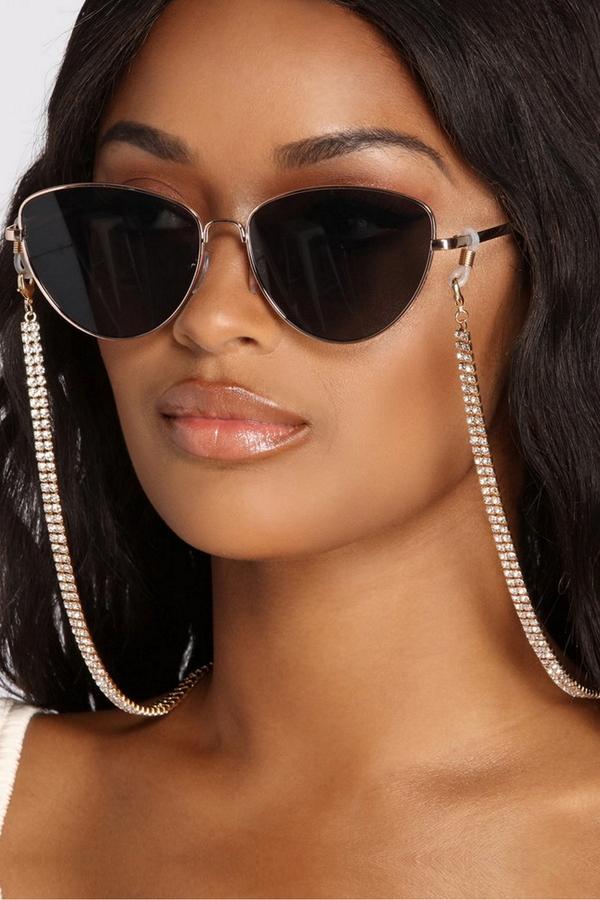 Baget Kristal Taşlı Gözlük Zinciri Gold