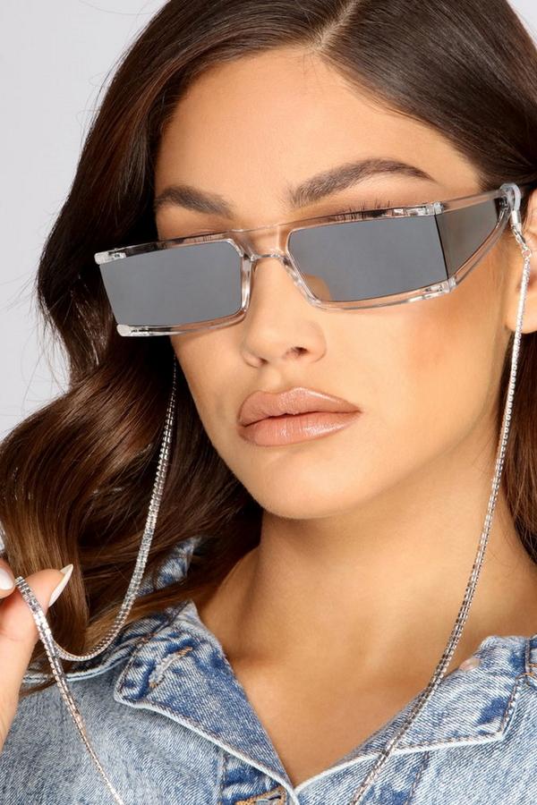 Baget Kristal Taşlı Gözlük Zinciri Silver