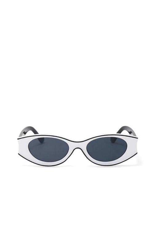 Beachside Özel Tasarım Yuvarlak Kemik Çerçeveli Erkek Güneş Gözlüğü Beyaz