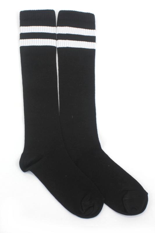 Best Beyaz Çizgili Diz Altı Pamuklu Spor Çorap Siyah