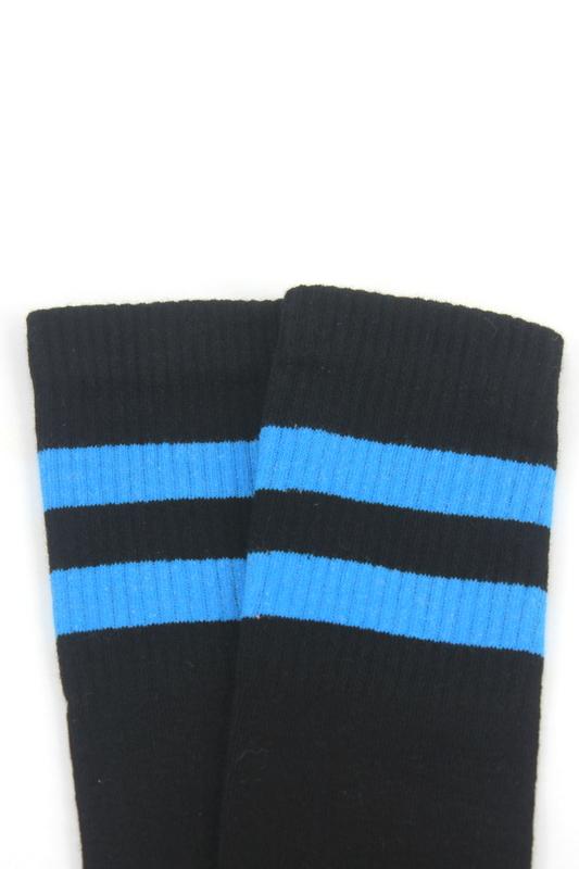 Best Mavi Çizgili Diz Altı Pamuklu Spor Çorap Siyah