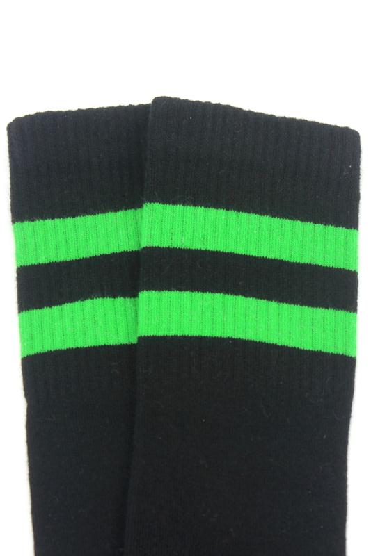 Best Yeşil Çizgili Diz Altı Pamuklu Spor Çorap Siyah