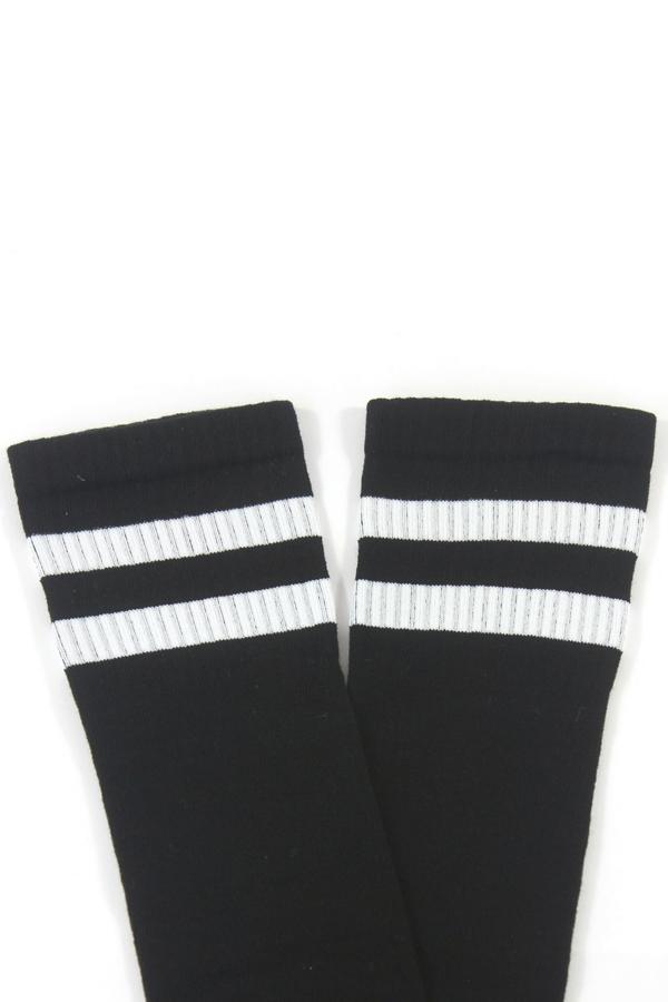 Beyaz Çizgili Diz Altı Koton Spor Çorap Siyah