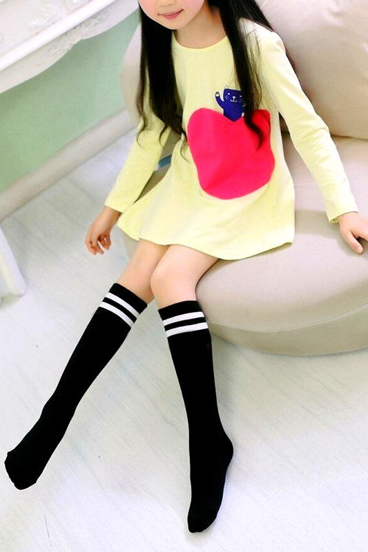Beyaz Çizgili Pamuklu Diz Altı Çocuk Çorabı Siyah