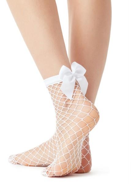 Beyaz Fiyonklu Kısa File Çorap Beyaz