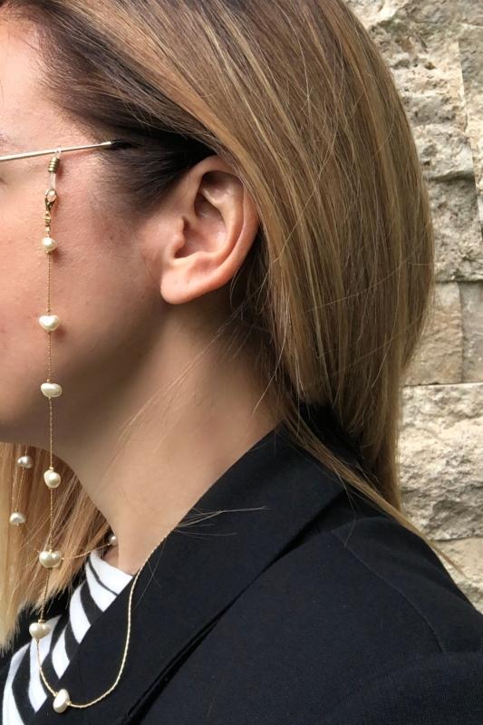 Beyaz İncili Gold İnce Gözlük Zinciri & Maske Zinciri
