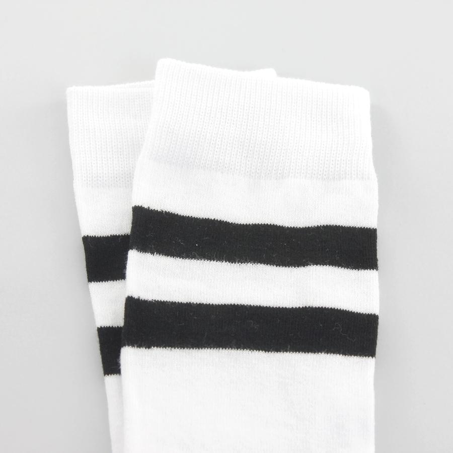Boom Siyah Çizgili Pamuklu Diz Üstü Çorap Beyaz